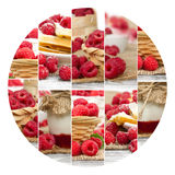Raspberry Mix Slices. Photo of fresh raspberry abstract mix with circle shape; healthy eating; white space for text Royalty Free Stock Images