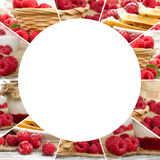 Raspberry Mix Slices. Photo of fresh raspberry abstract mix with circle shape; healthy eating; white space for text Stock Images