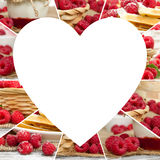 Raspberry Mix Slices. Photo of fresh raspberry abstract mix with heart shape; healthy eating; white space for text Stock Image