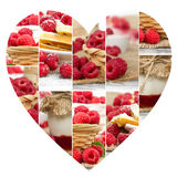 Raspberry Mix Slices. Photo of fresh raspberry abstract mix with heart shape; healthy eating; white space for text Royalty Free Stock Image