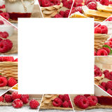 Raspberry Mix Slices. Photo of fresh raspberry abstract mix with square shape; healthy eating; white space for text Royalty Free Stock Photography