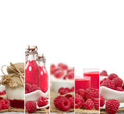 Raspberry Mix Stripes. Photo of fresh raspberry abstract mix in baskets and bowls with juice and marmalade; healthy eating; white space for text Stock Image