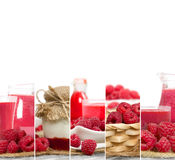 Raspberry Mix Stripes. Photo of fresh raspberry abstract mix in baskets and bowls with juice and marmalade; healthy eating; white space for text Royalty Free Stock Images