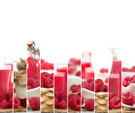 Raspberry Mix Stripes. Photo of fresh raspberry abstract mix in baskets and bowls with juice and marmalade; healthy eating; white space for text Royalty Free Stock Photos