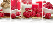 Raspberry Mix Stripes. Photo of fresh raspberry abstract mix in baskets and bowls with juice and marmalade; healthy eating; white space for text Royalty Free Stock Image