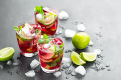 Raspberry mojito cocktail with lime, mint and ice, cold refreshing drink. On black background Stock Photography