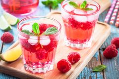 Raspberry mojito in a glass Royalty Free Stock Photography