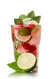 Raspberry mojito. Refreshing alcoholic cocktail with raspberries,lime,rum and mint royalty free stock image