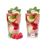 Raspberry mojito. Refreshing alcoholic cocktail with raspberries,lime,rum and mint royalty free stock photography