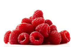 Raspberry mountain. Some red raspberries isolated on white background royalty free stock photo