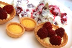Raspberry mousse  and tarts Stock Photography