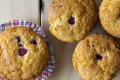 Raspberry Muffins from Above with Checkered Muffin Cup Stock Images