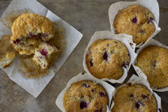 Raspberry Muffins from Above with one Eaten Stock Images