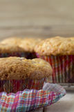 Raspberry Muffins with Checkered Muffin Cup Stock Photos