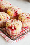 Raspberry Muffins on Cooling Rack Stock Photo