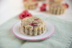 Raspberry Muffins. Home made Raspberry Muffins with poppy seeds Stock Image