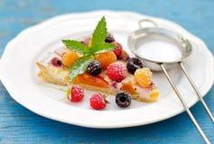 Raspberry nectarine cream tart Royalty Free Stock Photography