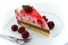 A raspberry nougat cream tart Royalty Free Stock Photography
