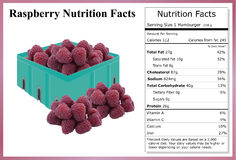 Raspberry Nutrition Facts Stock Image