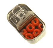 Raspberry in open can royalty free stock photo