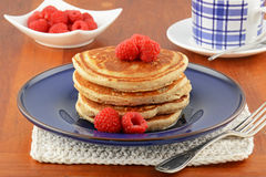 Raspberry pancakes Stock Photography