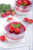 Raspberry pannacotta. In glass cups Royalty Free Stock Image