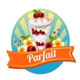 Raspberry parfait label Stock Image