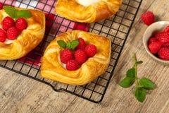 Raspberry pastries Stock Photo