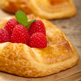 Raspberry pastries. Macro. Royalty Free Stock Photos