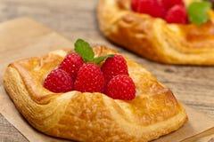 Raspberry pastries. Macro. Stock Photos