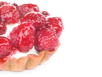 Raspberry pastry. With whipped cream isolated on white background Stock Photo