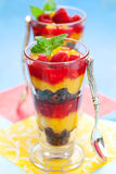 Raspberry and peach trifle Stock Image