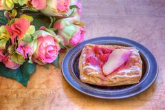 Raspberry and Pear Pastry Royalty Free Stock Images