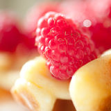 Raspberry pie closeup. Homemade pie with berries close up, selective focus Stock Images