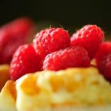 Raspberry pie closeup. Homemade pie with berries closeup, selective focus Stock Image