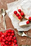Raspberry pie. Healthy eating, food, dieting - pie  with  fresh raspberry soft cheese and  icing sugar, on    wooden background Stock Photography
