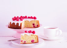 Raspberry pie and tea. Royalty Free Stock Images