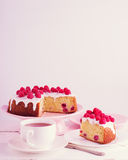 Raspberry pie and tea. Stock Photos
