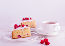 Raspberry pie and tea. Royalty Free Stock Photo