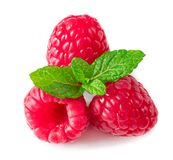 Raspberry. Pile of fresh Raspberries with leaves isolat. Raspberry. Pile of fresh Raspberries with leaves  on white background, close up Royalty Free Stock Photos