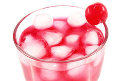 Raspberry pink cocktail with cherry Royalty Free Stock Photography