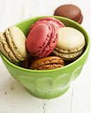Raspberry, Pistachios and Coffee Macarons Stock Photo