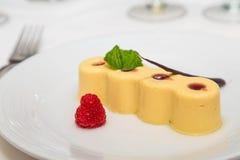 Raspberry on Plate with Lemon Tart Royalty Free Stock Photos
