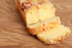 Raspberry pound cake on a cutting board Stock Photo