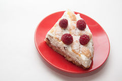 Raspberry quiche. Delicious cottage cheese quiche on plate Stock Photography