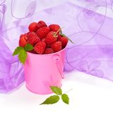 Raspberry. Raspberries in a small pink metal bucket. Selective focus Royalty Free Stock Image