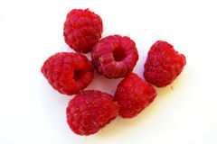 Raspberry. Red sweet juicy six raspberries Royalty Free Stock Photos