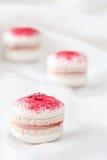 Raspberry and Rose Water Macarons. Stock Photo