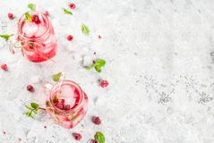 Raspberry Sangria, Lemonade or Mojito. Cold summer drink, Raspberry Sangria, Lemonade or Mojito with fresh Raspberry and syrup, mint leaves, on grey stone Stock Image