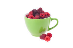 Raspberry, saucer and cup Stock Photos